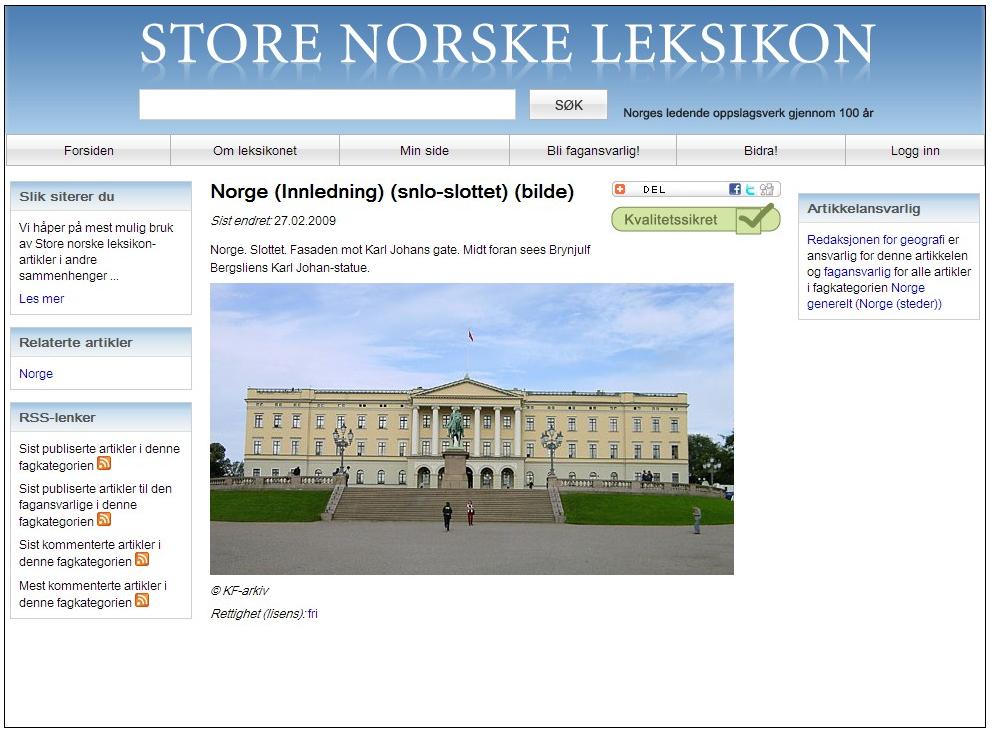...og slik så det ut på de gamle nettsidene. Faksimile fra artikkelen Norge på snl.no, 19.12.2010, lastet ned via Internet Archive.