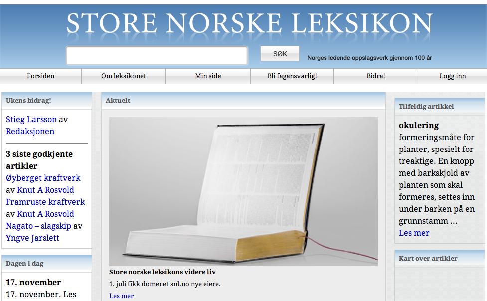 Forsiden til Store norske leksikon fra 2011