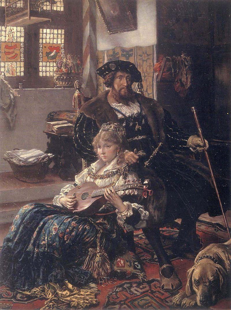 """Dyveke Ottikesdatter sitter foran Kongen. Hun «utøvet reell innflytelse på kongens mentale tilstand» ved å døy. Her er hun malt av Vilhelm Rosenstrand i 1885, Statens Museum for Kunst, <a href=""""http://commons.wikimedia.org/wiki/File:DyvekeSigbritsdochter.jpg""""> Wikimedia commons</a>   <a href=""""http://creativecommons.org/publicdomain/mark/1.0/deed.no""""> (falt i det fri)</a>"""
